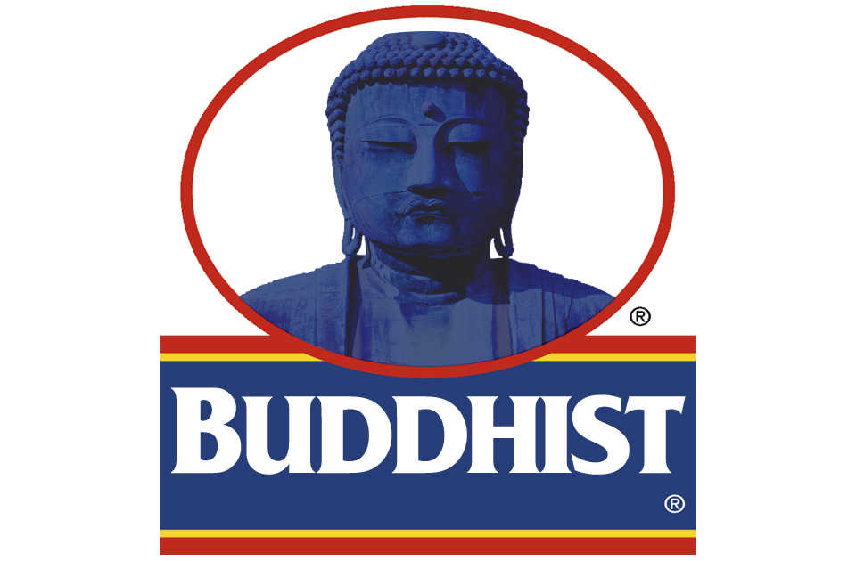 An illustration depicting a parody of the Quaker Oats logo except with Buddha instead of the Quaker
