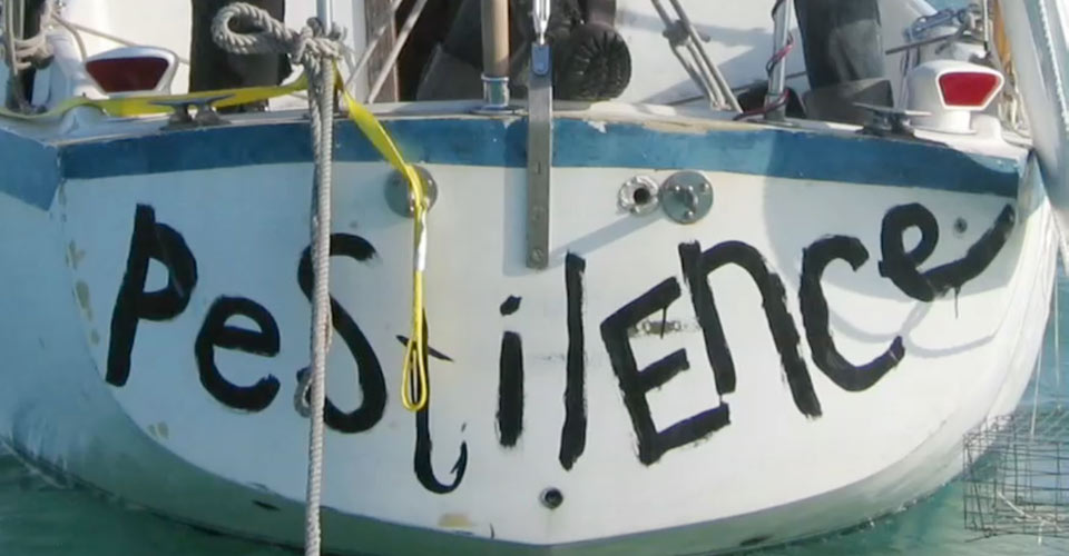 An image depicting the aft part of the sailboat S/V Pestilence