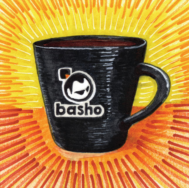 A colorful illustration of a black colored Coffee cup with oranges and yellows