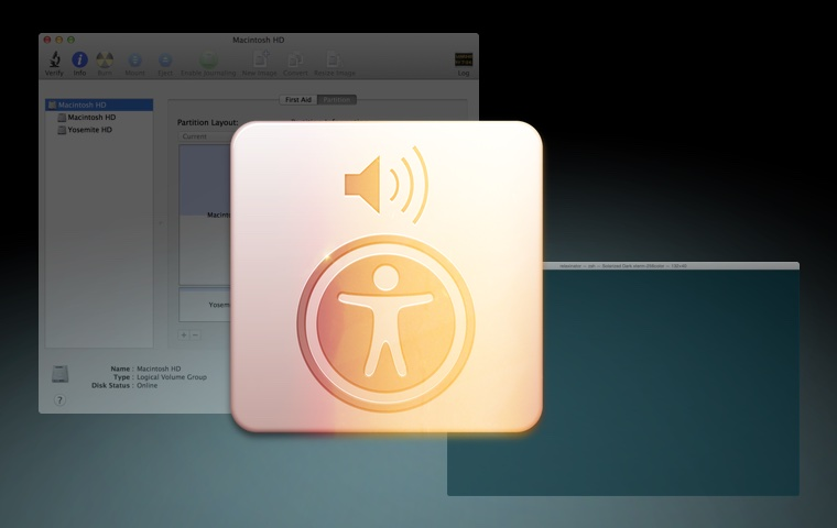 Screen shot illustration with Apple accessibility logo