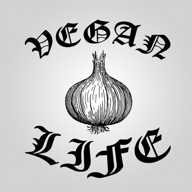 An illustration of an onion with olde English style tattoo style lettering that reads Vegan Life